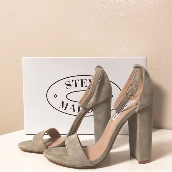 90b55f1c32f Steve Madden Carson Sandal Heel Taupe Suede. M 5a9dfaa3d39ca2e604cdf5a4